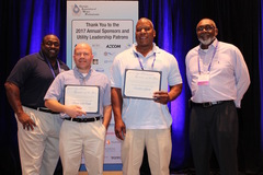 (L to R): Gary McCoy, Director of Water Operations, presents Brian McDade with the GAWP District 5 Top Water Plant Operator Award, while Quinton Gibson receives the Top Wastewater Operator Award from Larry Reynolds, Director of Wastewater Operations.
