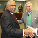 Sam Hart (left) receives congratulations after being sworn in as MWA Chairman.