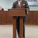 MWA Chairman Sam Hart addresses those gathered for his swearing in ceremonies.