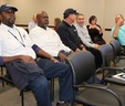 (Left to right) Cedrick Jenkins, Tyler Smith, Ray Simmons, Michel Wanna, Heather Veal and Darryl Macy prior to recognition at the MWA December Board Meeting.