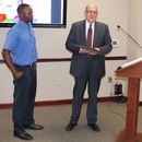 Bill Zieburtz (right) introduces Jarvis Fennelle, MWA Operator who is the Top Wastewater Plant Operator in District 5.