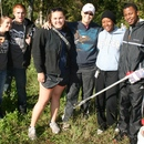(L to R) Payton Trotter and Chris Hawkins, with Lowe's, joined Mercer University student Alexis Akers, Georgia Wilderness Society's Bonnie Gehling, and Mercer students Valencia Scott and Edmond Cooper, for the 2011 Ocmulgee Alive!