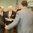 Randy Smith (far left) receives thanks for his service from (left to right) MWA Board Member Steve Rickman, Chairman Kirby Godsey, Executive Director Tony Rojas, and Board Members Javors Lucas and Frank Patterson (far right).