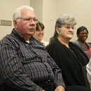 Herman Wilburn and his wife Peggy await recognition during the January meeting of the MWA.