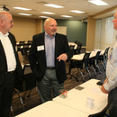Ray Shell (right), MWA Deputy Executive Director, chats with fellow water professionals prior to the GAWP Legislative Preview luncheon.