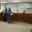 Solomon Mims (center) thanks the Macon Water Authority for the opportunity to serve for 25 years as a water professional.