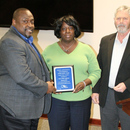 Gary McCoy (left), MWA Director of Water, and Jocelyn Hunt (center), accept the GAWWA Safety Award for the Amerson Water Treatment Plant from Jack Dozier, Executive Director of the Georgia Association of Water Professionals.