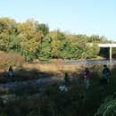 Volunteers from YKK work the banks and the river bed during the 2011 Ocmulgee Alive!